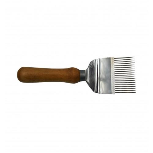 Вилка для распечатывания медовых сотов 19 игл (иглы с перегибом), ручка деревянная
