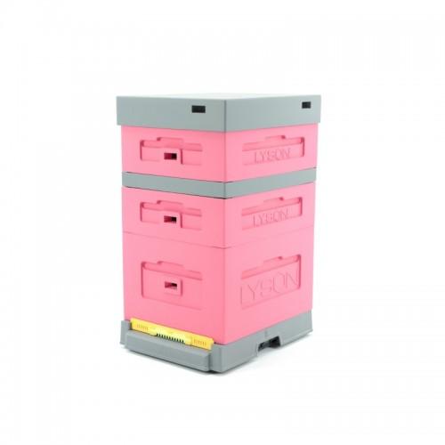 Улей пенополистирольный Дадан на 10 рамок Lyson с пластиковым дном крашенный (Розовый)