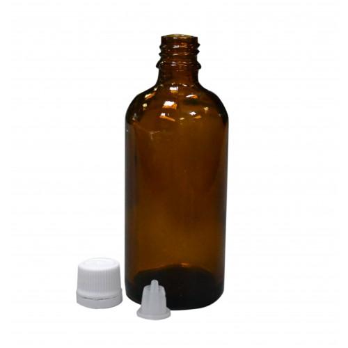 Пляшечка 100мл. коричнева (скляна) з корком та дозатором