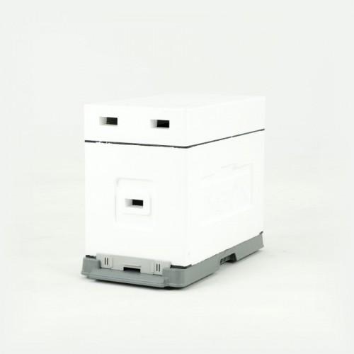 Улей пенополистирол для выращивания пакетов Дадан на 6 рамок (пластиковое дно) некрашеный