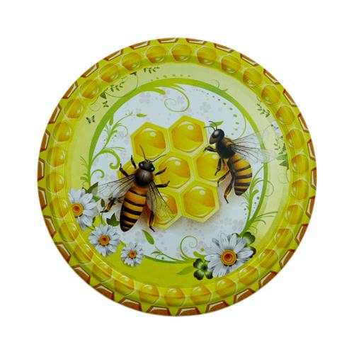 Кришка металева для меду (Твіст-82) Бджоли на стільнику